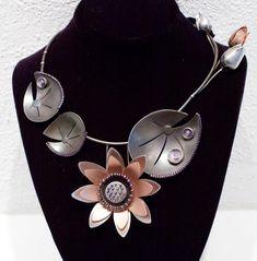 "Necklace | Chihiro Makio.  ""Grand Flower"".  Sterling silver, Rose gold, Vermeil, Rhodium."