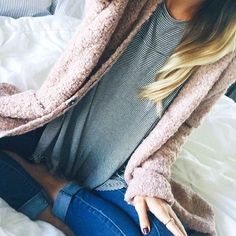 I love the small stripes & the solid cozy cardigan. I really like the colors too.