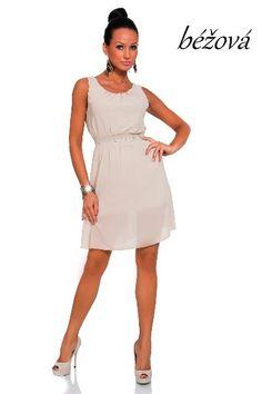 358...Šifonové šaty New original fashion > varianta Béžová > UNIVERZÁLNÍ