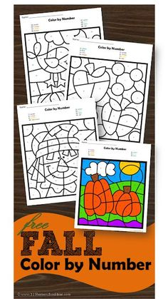 FREE Fall Color by Number - these free printable color by number math worksheets are great for helping preschool, prek, kindergarten, and first grade practice identifying numbers while strengthening fine motor skills with a fun fall twist: scarecrow, appl Kindergarten Age, Kindergarten Worksheets, Letter Worksheets, Free Worksheets, First Grade Math Worksheets, Printable Worksheets, Printable Coloring, Fall Preschool, Preschool Activities