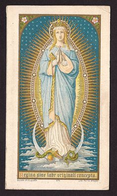 Gorgeous Vintage 100 year Golden Jubilee feast of the Immaculate Conception.  Gold Print Holy Card.. $18.00, via Etsy.