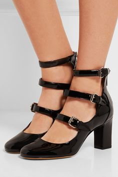 Heel measures approximately 75mm/ 3 inches Black patent-leather Zip fastening along back Made in Italy