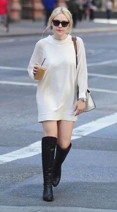 Vogue Daily — Dakota Fanning in white jumper dress and high black boots #celebrities #fashion... - Celebrity Street Style