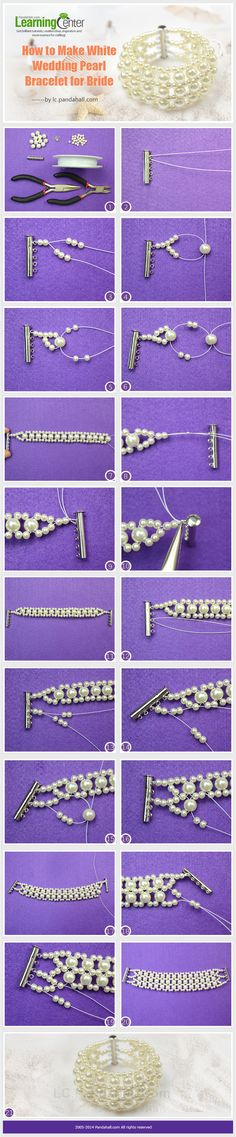 DIY White Wedding Pearl Bracelet #Beading #Jewelry #Tutorials