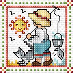 """June"" Sunbonnet Sue and Sal 2018 by Lesley Teare Tiny Cross Stitch, Cross Stitch Cards, Cross Stitch Designs, Cross Stitching, Cross Stitch Embroidery, Cross Stitch Patterns, Pixel Crochet, Beaded Cross, Lap Quilts"