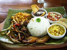 "Casado ~ is a Costa Rican meal consisting of rice, black beans, fried plantains, salad, a tortilla, and an optional entrée that may include chicken, beef, pork. Casado translates to ""married"" and is served in many households of the country for lunch. #Costa_Rica #Food #Casado"
