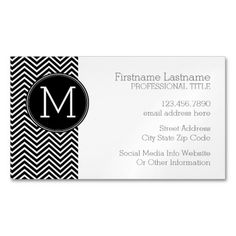 Black and White Chevron Pattern Custom Monogram Magnet Business Cards - Suitable for any business