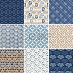 Japan seamless pattern collection Stock Vector