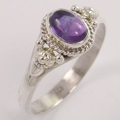 925 Sterling Silver Jewelry Ring Size US 8.75 Natural AMETHYST Gemstone ! Trader #Unbranded