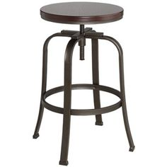 Radin Hammered Bronze Adjustable Height Barstool - @lamps plus, ~ $79, free shipping