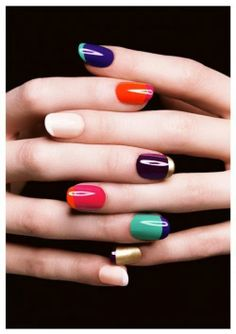 Colorful Mani! Try it with Diane Nail Brush Set!  http://frommbeauty.com/shop/product/