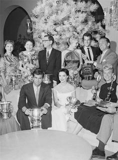 barbarastanwyck:  Modern Screen Award winners for the year 1956, (left to right: Debbie Reynolds, Louella Parsons, George Delacor, Janet Leigh, Tony Curtis, Kirk Douglas, Anthony Perkins, Natalie Wood, Doris Day)