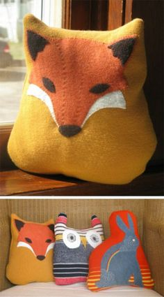 Pillow Critters by Elke.Made from double knit old sweaters, wool felt and then embroidered. Love everything about her site. Love the header, content (cashmere animals) etc… I usually go for really modern prints, but I love these pillows.