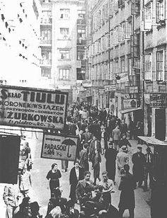 Commercial area on Nalewki Street in Warsaws Jewish quarter. Warsaw, Poland…