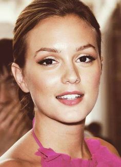 Leighton Meester--- Love the light pink eye shadow dark eye lashes and neutral lips... Definite possibility