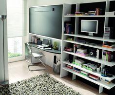 reducido espacio con cama plegable para invitados y amplia zona de despacho de jjp  www.moblestatat.com horta barcelona