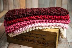 SET Chunky Newborn Baby Blankets in Burgundy, Cranberry, Raspberry, Blossom and Cream