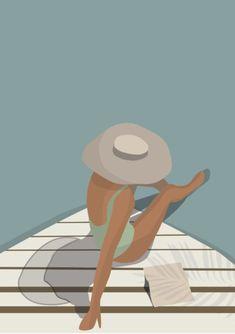 Woman reading on a boat illustration, woman with a pamela sunbathing on a boat illustration art print, woman on the sea minimal style poster - Art And Illustration, Illustrations, Painting Inspiration, Art Inspo, Poster Photo, Pop Art Wallpaper, Art Watercolor, Aesthetic Art, Artwork Prints