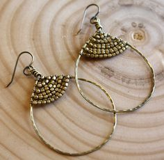 hammered wire jewelry | Hammered Brass Earrings by BotanicalSociety on ... | wire jewelry t...