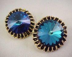 Vtg DODDS Cobalt Blue Radiant Rivoli Glass Stones Gold Tone Clip on Earrings #Jewelry #Deal #Fashion