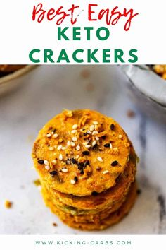 These Keto Crackers with almond flour are so crispy and full of flavor that you can enjoy them by themselves. They also make a great nibble to serve with your favorite dips and are a great addition to a cheese plate. Go ahead, make an extra batch - these homemade crackers keep for a week at room temperature, and freeze beautifully. #keto #crackers #ketocrackers Low Carb Keto, Low Carb Recipes, Paleo Recipes, Keto Snacks, Snack Recipes, Low Carb Crackers, Raw Pumpkin Seeds, Homemade Crackers, Easy Meal Prep
