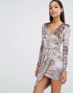 Club L Crushed Velvet Wrap Over Long Sleeve Dress