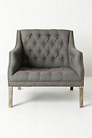 Benson Chair from Anthropologie - With an ample, button-tufted seat big enough to curl up in - legs tucked, cat and all - neutral linen upholstery and stately lathe-turned legs, our nailhead-trimmed chair is bound to become your reading reserve. Love Chair, Grey Chair, Gray Armchair, Take A Seat, Love Seat, Home Furniture, Furniture Design, Furniture Chairs, Decoration Gris