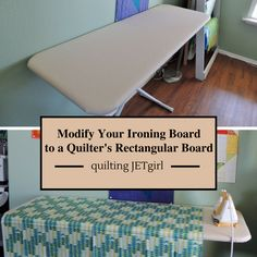 For my birthday this year, I asked my husband to help me modify my ironing board. I had been eyeing a tutorial by my friend Terri Ann Fascination. I have been using the large board for almo Sewing Room Design, Sewing Room Storage, Sewing Room Organization, My Sewing Room, Sewing Studio, Sewing Rooms, Ironing Board Covers, Diy Quilting Ironing Board, Scrappy Quilts