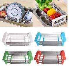 Dish Drying Rack Drainer Kitchen Holder Tray Organizer Storage Stainless Steel #Unbranded