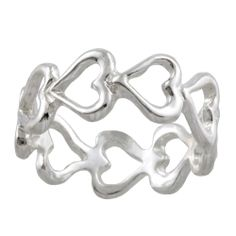 Silvermoon Sterling Silver Open Heart Eternity Band Today $19.49