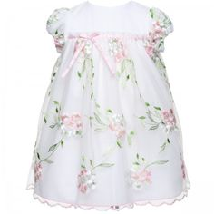 White special occasion baby dress with embroidered flowers