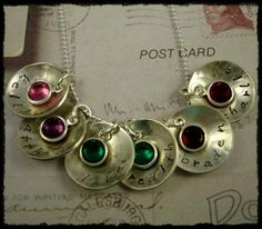 Hand Stamped Necklace -  Mom Jewelry Sterling Silver Personalized - Six Birthstone Discs