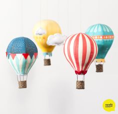 DIY Hot Air Balloon Mobile: Kits and Fabric panels from Craft Schmaft #CraftSchmaftBalloons. Exactly what I want for my next baby!