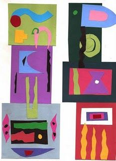 Matisse colage- I've done thes with kids several times they always look fantastic