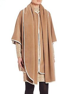 Akris punto Contrast Piping Wool & Cashmere Cape