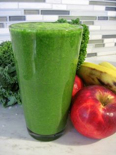 kale, frozen peach slices, banana, apple and water