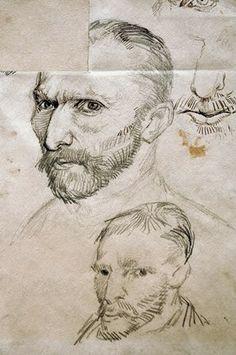 Vincent van Gogh / self-portraits. - Vincent van Gogh als Kunstdruck oder handgemaltes Gemälde. Van Gogh Portraits, Van Gogh Self Portrait, Vincent Van Gogh, Van Gogh Drawings, Van Gogh Paintings, Nature Paintings, Van Gogh Museum, Art Van, Van Gogh Zeichnungen