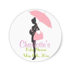 Pink Silhouette Baby Shower Stickers Sticker