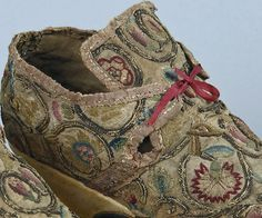 Detail of embroidered linen laced shoes, 1685 - 1735. [see pair of shoes in 18th Century Footwear]