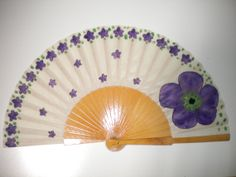 Tiny Scattered Purple Flowers and Large Flower Natural Wood Fan Hand Fan Painted Fan, Hand Painted, Large Flowers, Purple Flowers, Hand Fans, Fancy, Watercolor, Handmade Gifts, Natural Wood