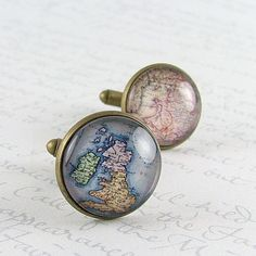 Antique British Isles Map Cuff Links - Anglophile Gifts