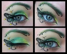 Green butterfly eye makeup