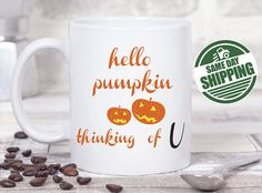 hello pumpkin mug, pumpkin mug, cute pumpkin mug, fall mug, fall mug personalized, fall mug best friend, fall mug set, fall pumpkin mug  ********* MADE IN USA ****************  The best relaxing time of a day is coffee time and this cute gift brings a sweet smile every time when they enjoy their cup of coffee !! It brings back all the special memories and makes a perfect gift for any occasion !! We can include a date as well if you like - EST 2018 or 2017 below the design to make this day…