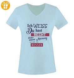 Comedy Shirts - Ich weiss du hast Recht aber meine Meinung gefällt mir besser - Damen V-Neck T-Shirt - Hellblau / Lila-Fuchsia Gr. S - Shirts mit spruch (*Partner-Link)