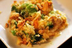 BROCOLLI CHKN CASSEROLE: 8 oz bag broccoli, 4 chkn tenderloins, 1.5 cups grated sharp cheese, 1 can cream of chkn, 1/2 sleeve ritz crackers, 1 cup rice, 3/4 cup milk, 2 tbsp melted butter