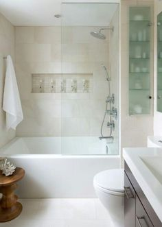 I like the glass shelving to add light to the room. Along with the built in shampoo holder