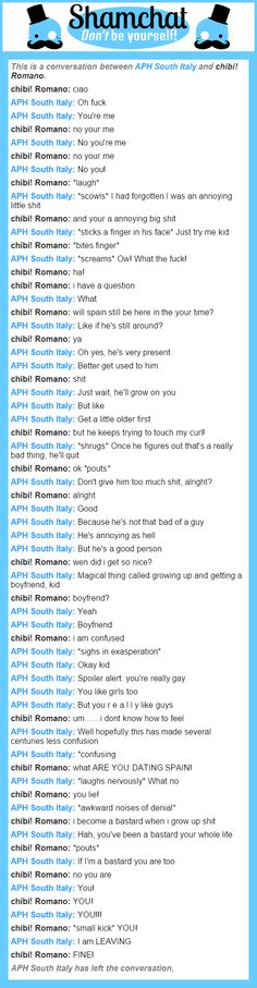 A conversation between chibi! Romano and APH South Italy (I'm dying XD)