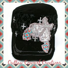 Aztec bling pistol hat  By Outlaw Cowgirl Creations