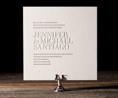 Clean lined, simple and modern style makes Ben Whitla's Irving an ultra chic letterpress wedding invitation.
