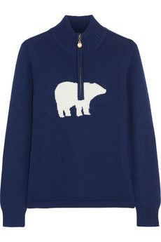 Storm-blue and white merino wool Zip fastening along front merino wool Hand wash or dry clean Designer color: Navy White Polar Bear, Polar Bears, Moon Boots, Merino Wool Sweater, Blue Sweaters, Emilio Pucci, Blue And White, In This Moment, Coat